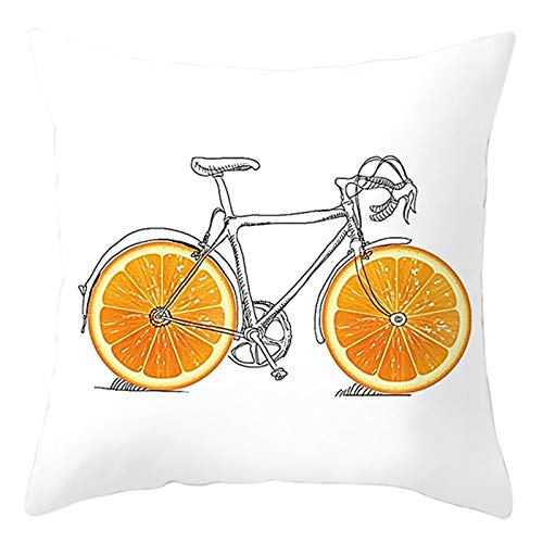 KnBoB Funda Almohada Naranja Gris Beige Bicicleta Naranja Poliéster 50 x 50 cm Estilo 17