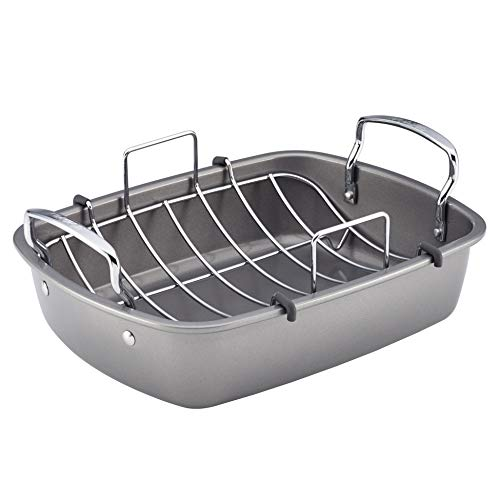Circulon Nonstick Roasting Pan / Roaster with Rack - 17 Inch x 13 Inch, Gray