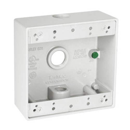 TayMac DB350WH 4-1/2-Inch X 4-1/2-Inch Gang 2-Inch Deep Weatherproof Box, 1/2-Inch Outlets, White