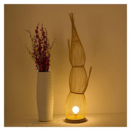 -Lampada da terra Lampada da terra, materiale tessuto di bambù in stile cinese adatto per lampada da comodino per hotel lampada