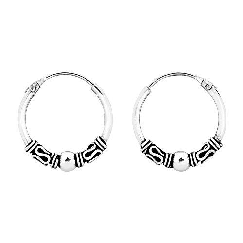 Vintage Balinese Bead 14 mm Hoop Sterling Silver Earrings