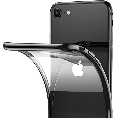 RANVOO Transparente Dünne Hülle Kompatibel mit iPhone SE 2020/8/7, Silikon Slim Durchsichtig Rücken & verzierte Schwarz Ränder Case Schutzhülle Cover Handyhülle, Schwarz