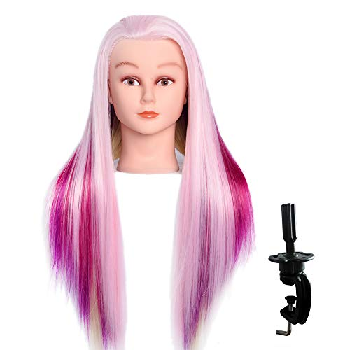 "LuAiJa 26""-28"" Mannequin Head Hair Styling Training Head Manikin Cosmetology Doll Head Synthetic Fiber Hair with Free Clamp Holder (Rainbow Synthetic Fiber Hair)"