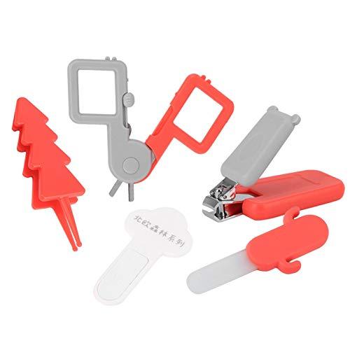 Pinzas de punta redonda, juego de herramientas de manicura infantil, cortaúñas para bebés, kit de aseo para bebés(Nordic Forest Nail Clipper-Risheng Red)