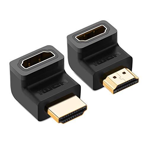UGREEN Adaptador HDMI Macho a Hembra, 2 Pieces Conector HDMI Ángulo 90 Recto y 270 Grado, 4K UHD Convertidor HDMI 2.0 Soporta 3D, ARC, HDR y Ethernet, Compatible con PC, TV, PS4,PS3, Xbox One,Xbox 360