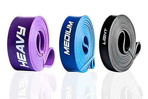 ActiveVikings® Bandes de fitness pull-up - Parfait pour la construction musculaire et le Crossfit Freeletics Calisthenics - Bande de résistance, H - Mid Package (noir bleu violet).