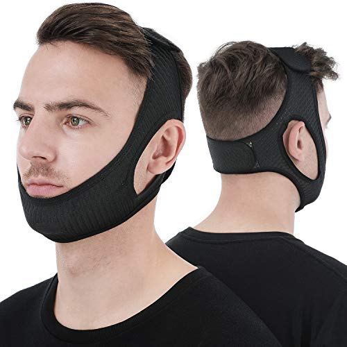 Anti Snore Chin Strap [Upgraded 2021], Vosaro Snore Solution Anti Snoring Devices Effective Stop Snoring Chin Strap, Adjustable and Breathable Stop Snoring Sleep Aid for Men Women, Black