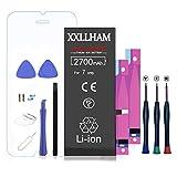 XXLLHAM Batería Interna de Súper Alta Capacidad compatible con iPhone 7 2700mAh con Kits de Herramientas Adhesivas de Hoja de Vidrio Templado Manual