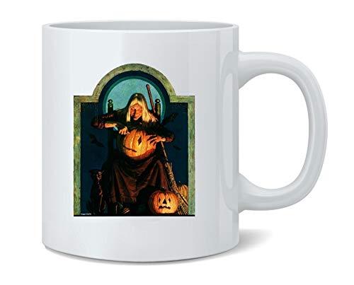 Witch Carving Pumpkin Retro Vintage Halloween Ceramic Coffee Mug Tea Cup Fun Novelty Gift 11 oz