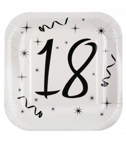 Dragée d'amour 10 Assiettes Anniversaire Noir et Blanc avec âge (Blanc 18 Ans)