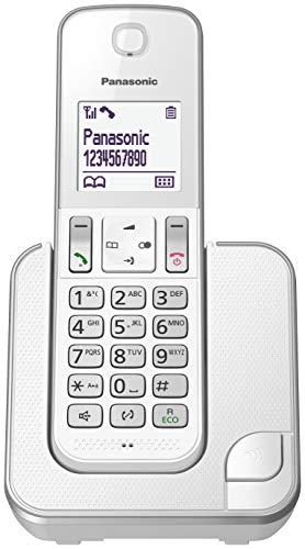 Panasonic KX-TGD310 - Teléfono fijo inalámbrico (LCD, identificador de llamadas, agenda de 120 números, bloqueo de llamada, modo ECO, reducción de ruido) Blanco, Solo
