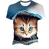Gato para Hombre Camisas Casuales de Manga Corta -5XL