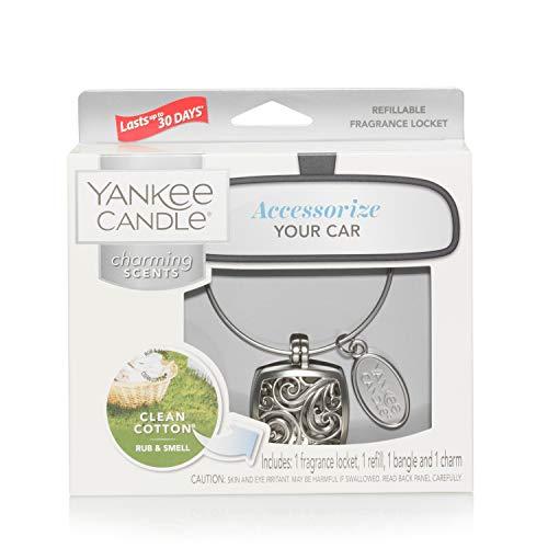 YANKEE CANDLE 5038581044545 Clean Cotton Starter Kit Squar Profumatore per Auto, Acciaio, Unica