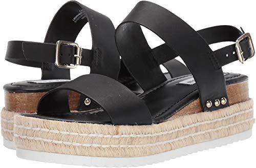 Steve Madden Women's Catia Wedge Sandal, Black Leather, 6.5