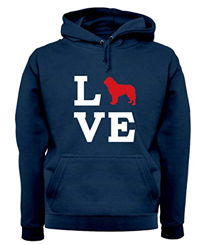 Love Newfoundland Dog Silhouette - Unisex Premium Hoodie/Hooded Top - Oxford Navy - Small
