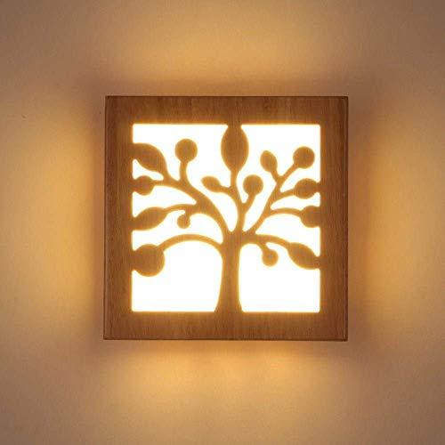 YXZQ Cabecero de Estilo japonés LED Lámpara de Pared de Madera con luz cálida Nórdico Minimalista Árbol Balcón Pasillo Luz de Pared Dormitorio Moderno Decoración de Troncos Aplique