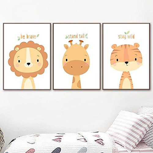 Encantadora caricatura jirafa león tigre lienzo pintura dibujos animados animal pared arte moderno impresión carteles habitación de bebé decoración del hogar cuadros de pared 40x50cmx3 sin marco