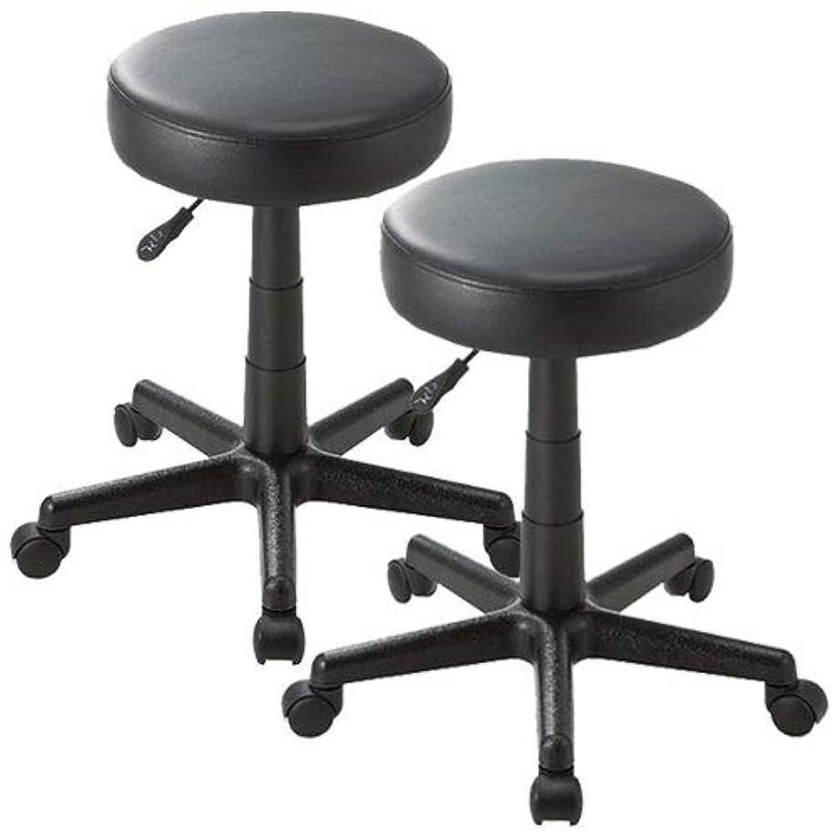 子孫インセンティブよく話されるイーサプライ 丸椅子 スツール PUレザー クッション ラウンド キャスター オフィス ミーティング 2脚セット EEX-CH30X2