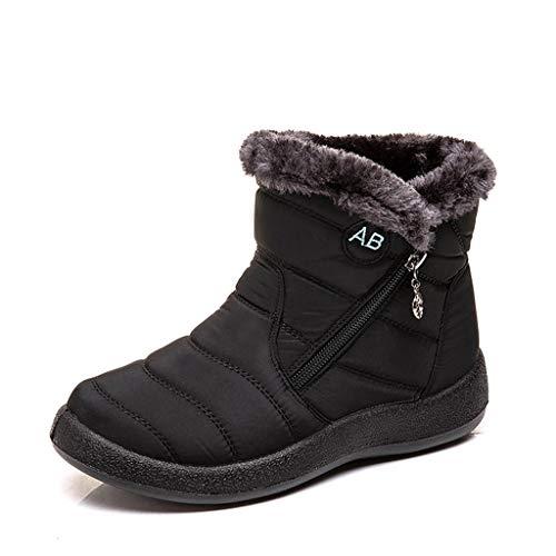 POLP Botas de Nieve para Mujer Cálidas Botines Invierno con Cremallera Calzado Impermeable Zapatos Cálidos Botines de felpa 35-43