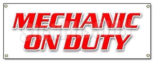 Mechanic ON Duty Banner Sign Repair Shop Automotive Mechanic Tools Maintenance