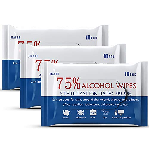 400 PCS (40 Packs) Alcohol Wet Wipes Disinfectant Cleaning Wipes Large Portable Hand Wipes Bulk for Cleaning Hands Computer Mobile Phone Toys Home Office