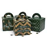 UPKOCH 12 stücke Weihnachten pralinenschachteln geschenkboxen grün mit Griff für Festival Party Favor Schokolade verpackung (zufälliges Muster)