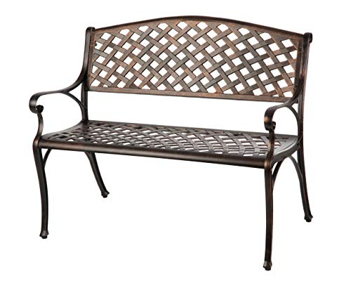 Patio Sense Cast Aluminum Patio Bench | Antique Bronze Finish | Heavy Duty Rust Free Metal Construction | Lightweight | Easy Assembly | For Front Porch, Backyard, Lawn, Garden, Pool, Deck
