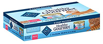 Blue Buffalo Healthy Gourmet Natural Kitten Pate Wet Cat Food Multi Pack, Chicken 3-oz cans (Pack of 6)