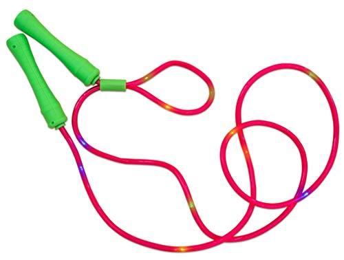 alldoro 60345 Springseil, Hüpfseil mit 11 LEDs, Kinderspringseil mit Licht, Sportspielzeug für Garten, Fitness, Bewegung und Outdoor, für Kinder ab 6 Jahre & Erwachsene, grün/rot Sortiert, Mehrfarbig