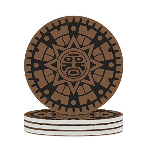 Ouniaodao Posavasos de cerámica antigua maya inca duradera cerámica con parte inferior de corcho para té, posavasos únicos para el hogar, 4 unidades