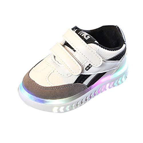 Dorical Unisex Babyschuhe Kleinkind Kinder Baby Schuhe mit Licht LED Leuchtschuhe Weiß Turnschuhe Blinkende Sneaker 21-30 Sportschuhe(Weiß,28 EU)