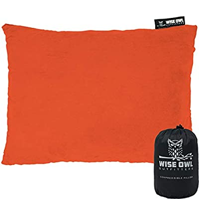 Wise Owl Outfitters Camping Pillow Compressible Foam Pillows – Use When Sleeping in Car, Plane Travel, Hammock Bed & Camp – Adults & Kids - Compact Small & Large Size - Portable Bag - SM Orange
