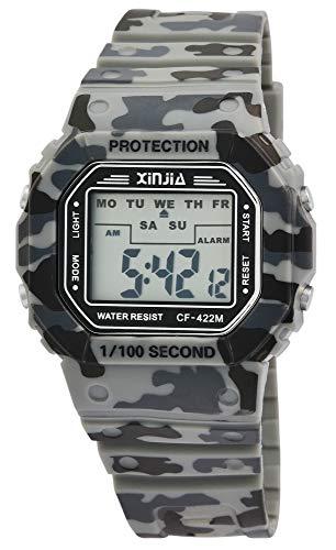 Xinjia - Reloj de Pulsera Digital para Hombre, diseño de Camuflaje Militar, Cuarzo, Silicona, Deportivo, Alarma, luz, cronómetro, Fecha, Retro