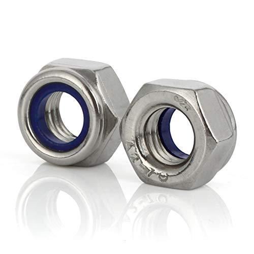 M3 x 0.5 Nylon Insert Hex Lock Nuts Locknuts, Stainless Steel 18-8 (304), Bright Finish, 40 PCS