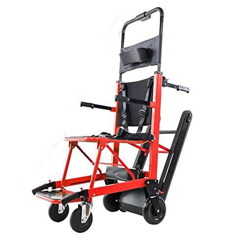 La silla de ruedas eléctrica plegable puede subir escaleras. Silla de ruedas portátil. Viaje ligero, para discapacitados y ancianos. Sube y baja la escalera completamente automática.,Rojo ✅