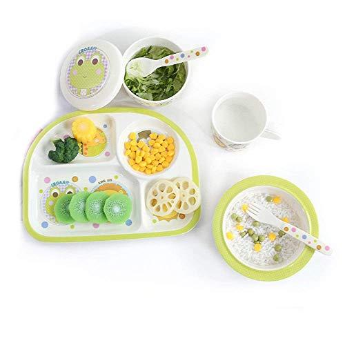 Mzxun De los niños de 6 piezas de melamina vajilla - Niños plato dividido, cuenco, sopa de la Plata, Tenedor y cuchara (Color: Verde, Tamaño: Tamaño libre)