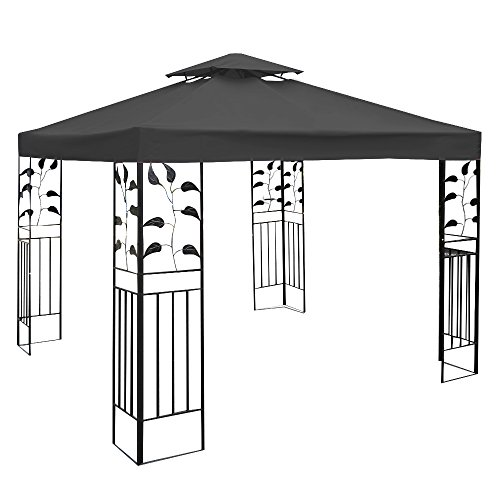 COSTWAY 3x3m Gazebo Top Cover Roof Replacement, Outdoor Waterproof Canopy Tent Roof Top Spare Part for Garden Patio (2-Tier, Dark Grey)