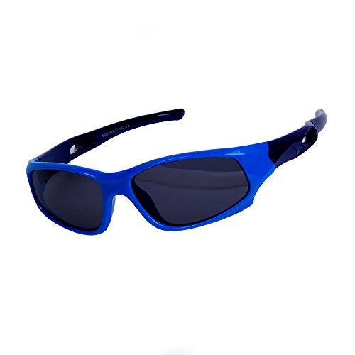 Qixuan QIXU Deportivas Gafas de Sol Niño y Niña (3-12 años) Azul Lentes Polarizadas UV400 Marco Flexible y Caja