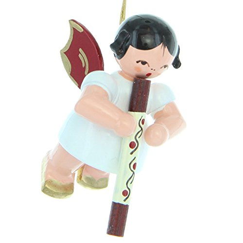 Uhlig Engel schwebend mit Didgeridoo rote Flügel handbemalt