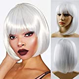 Bob Wigs With Straight Bangs 12Inch Short Synthetic Fiber Bob Wigs for Women Short Bob Wigs and Black Color Bob Wig With A Free Wig Cap(White)