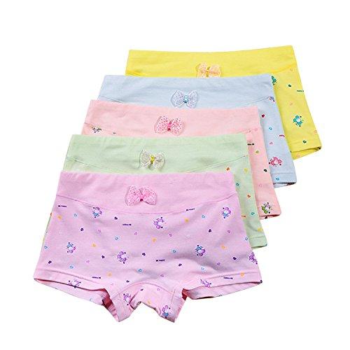 Chic-Chic Lot de 5 Shorty Boxer Bébé Fille Fillette en Coton Motif Imprimé Mignon sous-Vêtements Enfant Ultra Doux de 3 Ans à 8 Ans