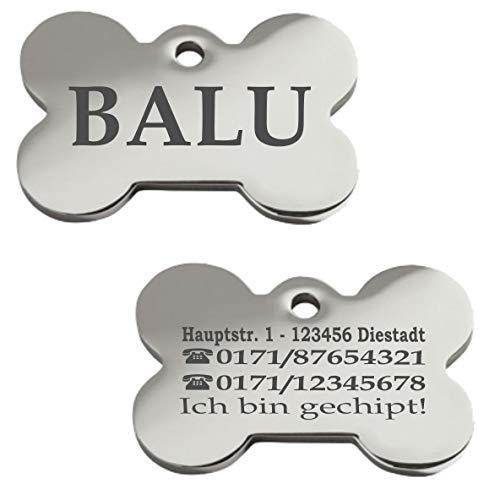 Iberiagifts - Hundemarke Knochen mit Gravur aus Edelstahl für mittelgroße bis große Hunde- Plakette für Hund und Katzen graviert personalisiert