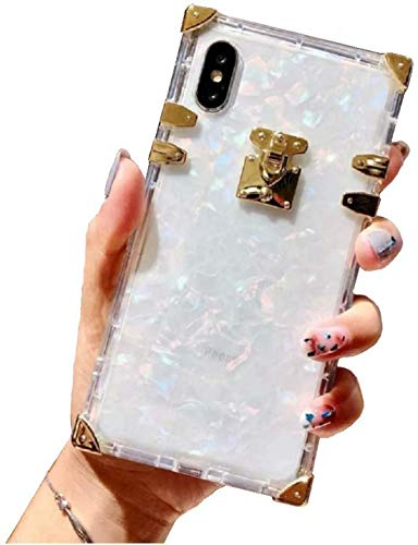 Compatible for iPhone 6 Plus/ 6s Plus/iPhone 7 Plus/iPhone 8 Plus Case, BABEMALL Crystal Square Shell for Girls Women Men Slim Fit Clear TPU Phone Plating Corner Soft Case (Shell Clear)