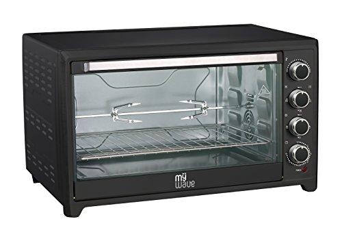 MyWave MWECHOR-R60RC Forno Elettrico da tavolo, Convenzione e Rustipollo, 2000 W, 60 litri, Nero, con griglia e teglia da forno