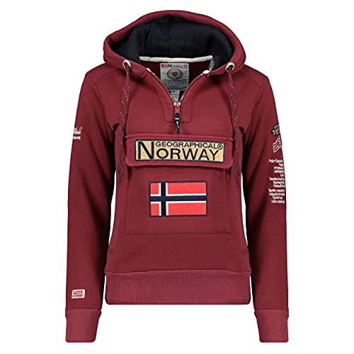 Geographical Norway GYMCLASS Lady - Sweat Femme Capuche Poches Kangourou - Sweatshirt Femmes Manche Pull Casual Manches Longues Chaud - Hoodie Veste Tops Sport Burgundy S - Taille 1