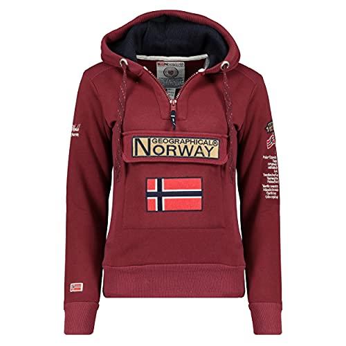 Geographical Norway GYMCLASS LADY - Sudadera Mujer Bolsillos Kangaroo - Sudadera Caliente Mujer - Suéter Abrigos Manga Larga - Hoodie Tops Casual Abrigo Estilo BORGOÑA S - TALLA 1