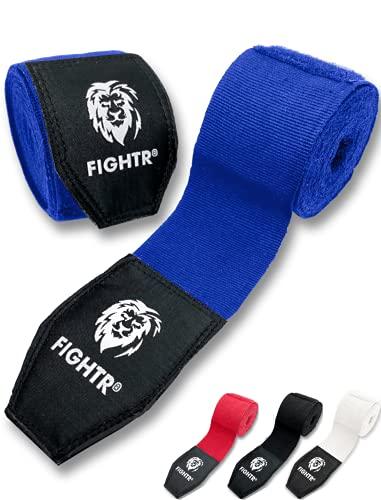 FIGHTR® Premium Boxbandagen max. Stabilität und Sicherheit | 4m halb elastische Boxing Gloves mit Daumenschleife für Boxen, MMA, Mauy Thai - Box Hand Bandage Sport (Blau)