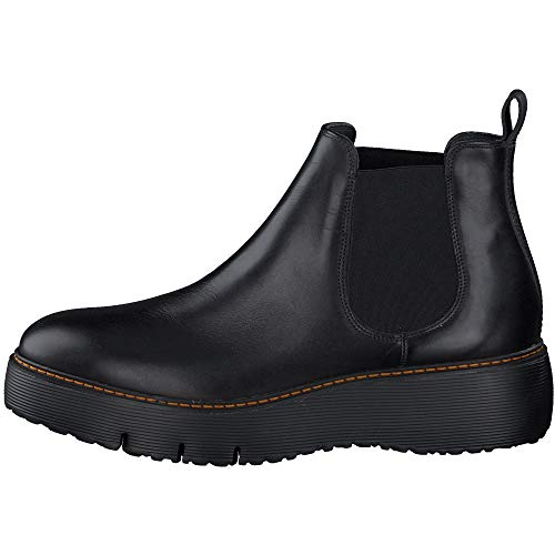 Paul Green Damen Chelsea-Boots, Frauen Stiefeletten, halbstiefel Bootie Schlupfstiefel flach weiblich Lady Ladies feminin,Schwarz,6.5 UK / 40 EU