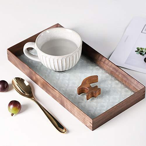 Bandeja de cristal de nogal en relieve creativa retro de madera de péndulo enano disco de almacenamiento de cosméticos de escritorio plato de almacenamiento de cosméticos de escritorio