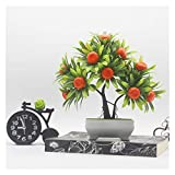 LINMAN LMH Frutas Artificiales Bonsai Plastic Fake Bonsai Los árboles con la Olla Artificial Bonsai Potted Home Wedding Decor Bonsai (Color : Orange)